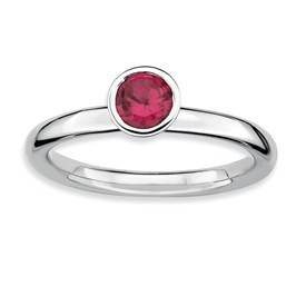 Stackable Expressions Sterling Silver High Profile 5mm Round Created Ruby Ring