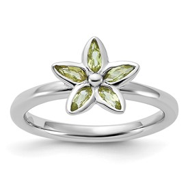 Stackable Expressions Sterling Silver Peridot Flower Ring