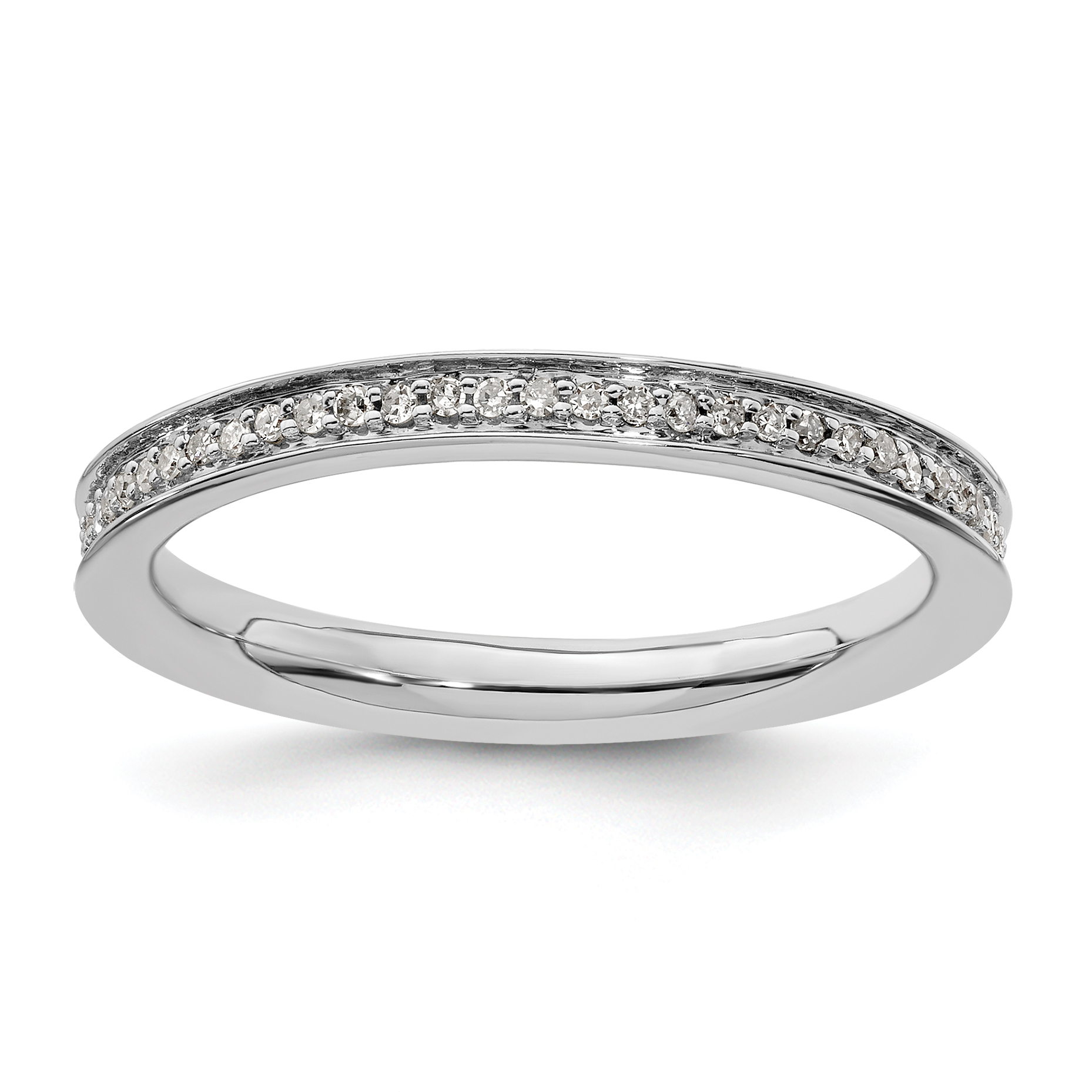 Sterling Silver Eternity Ring Solid Polished Rhodium 2.25 mm 2.25 mm Stackable Expressions Diamond Ring