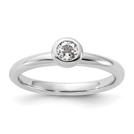 Stackable Expressions Sterling Silver Low 4mm Round White Topaz Ring