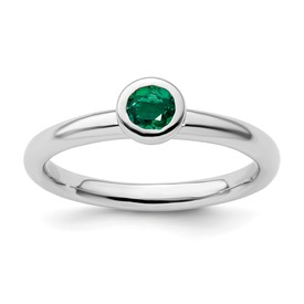 Stackable Expressions Sterling Silver Low 4mm Round Created Emerald Ring