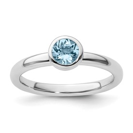 Stackable Expressions Sterling Silver Low 5mm Round Aquamarine Ring