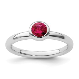 Stackable Expressions Sterling Silver Low 5mm Round Created Ruby Ring