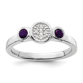Stackable Expressions Sterling Silver Double Round Amethyst and Diamond Ring