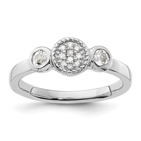 Stackable Expressions Sterling Silver Double Round White Topaz and Diamond Ring