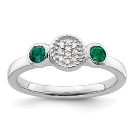 Stackable Expressions Sterling Silver Double Round Created Emerald and Diamond Ring