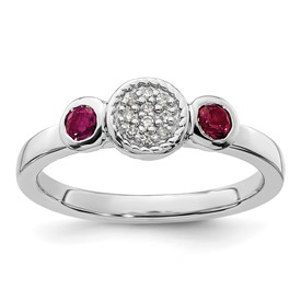 Stackable Expressions Sterling Silver Double Round Created Ruby and Diamond Ring