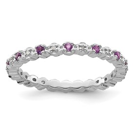 Stackable Expressions Sterling Silver Amethyst and Diamond Ring
