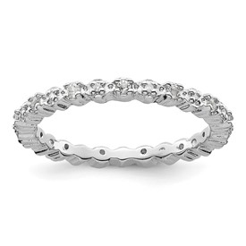 Stackable Expressions Sterling Silver White Topaz and Diamond Ring
