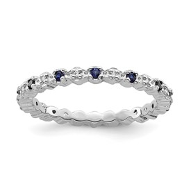 Stackable Expressions Sterling Silver Created Sapphire and Diamond Ring
