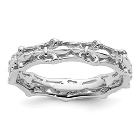 Stackable Expressions Sterling Silver Polished Fleur De Lis Ring
