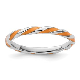 Stackable Expressions Sterling Silver Twisted Orange Enameled 2.4 x 2.0mm Ring