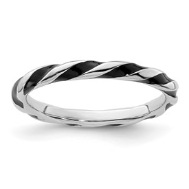 Stackable Expressions Sterling Silver Twisted Black Enameled 2.4 x 2.0mm Ring