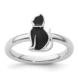 Stackable Expressions Sterling Silver Black Enameled Cat Ring