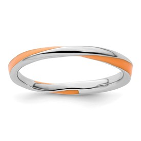 Stackable Expressions Sterling Silver Twisted Orange Enameled 2.5 x 2.25mm Ring