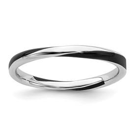 Stackable Expressions Sterling Silver Twisted Black Enameled 2.5 x 2.25mm Ring
