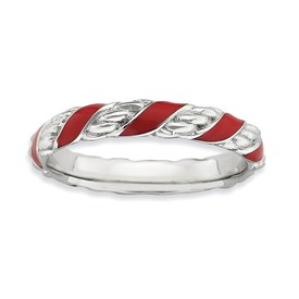 Stackable Expressions Sterling Silver Poslished Red Enameled Ring