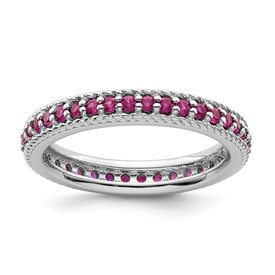 Stackable Expressions Polished Sterling Silver Created Ruby Eternity Ring
