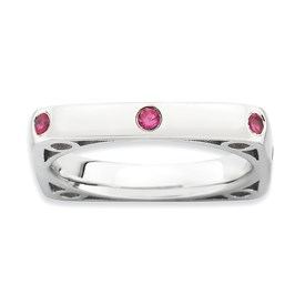 Stackable Expressions Polished Sterling Silver Created Ruby Square Ring