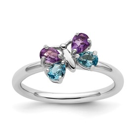 Stackable Expressions Polished Sterling Silver Blue Topaz and Amethyst Butterfly Ring
