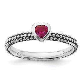 Stackable Expressions Polished Sterling Silver Created Ruby Heart Ring