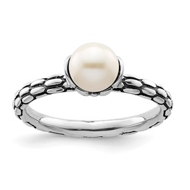 Stackable Expressions Polished Sterling Silver Patterned White Pearl Ring
