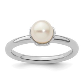 Stackable Expressions Polished Sterling Silver White Pearl Ring