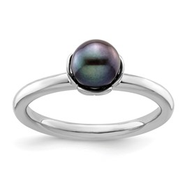 Stackable Expressions Polished Sterling Silver Black Pearl Ring
