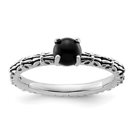 Stackable Expressions Antiqued Sterling Silver Black Agate Ring