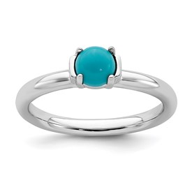 Stackable Expressions Polished Sterling Silver Turquoise Ring