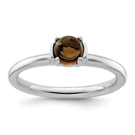 Stackable Expressions Polished Sterling Silver Smokey Quartz Ring