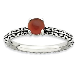 Stackable Expressions Antiqued Sterling Silver Red Agate Ring