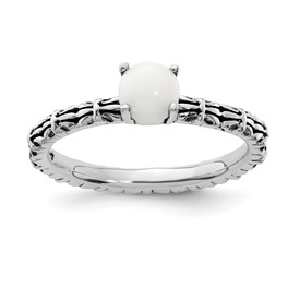 Stackable Expressions Antiqued Sterling Silver White Agate Ring