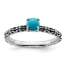 Stackable Expressions Antiqued Sterling Silver Turquoise Ring