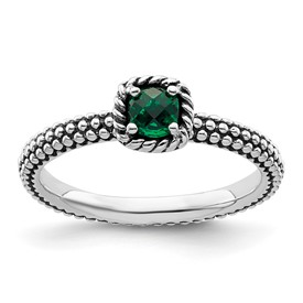 Stackable Expressions Polished Sterling Silver Created Emerald Ring