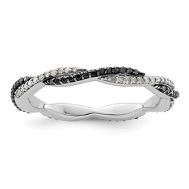 Stackable Black and White Diamond Twist Ring
