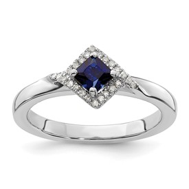 Stackable Expressions Polished Sterling Silver Created Sapphire and Diamond Ring