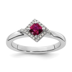 Stackable Expressions Polished Sterling Silver Created Ruby and Diamond Ring
