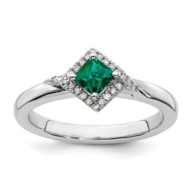 Stackable Expressions Polished Sterling Silver Created Emerald and Diamond Ring