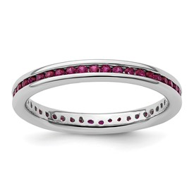 Stackable Expressions Polished Sterling Silver Created Ruby Ring