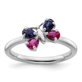 Stackable Expressions Sterling Silver Created Ruby and Created Sapphire Butterfly Ring