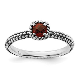 Stackable Expressions Sterling Silver Checker-cut Garnet Antiqued Ring