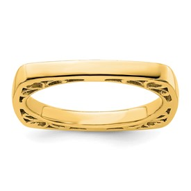 Stackable Expressions Polished Sterling Silver Gold-plated Square Ring