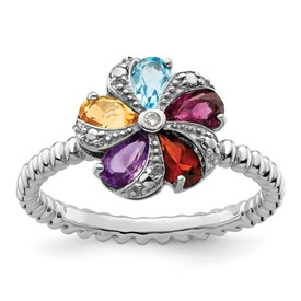 Stackable Expressions Sterling Silver Gemstone and Diamond Ring