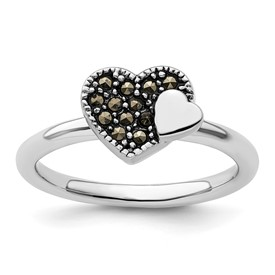 Stackable Expressions Sterling Silver Marcasite Heart Ring