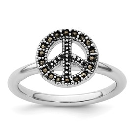 Stackable Expressions Sterling Silver Marcasite Peace Sign Ring