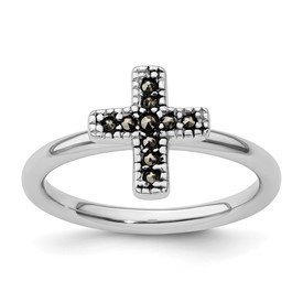 Stackable Expressions Sterling Silver Marcasite Cross Ring