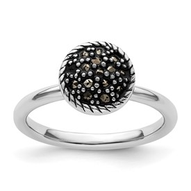 Stackable Expressions Sterling Silver Marcasite Domed Ring