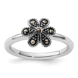 Stackable Expressions Sterling Silver Marcasite Scalloped Ring