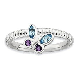 Stackable Expressions Sterling Silver Amethyst and Blue Topaz Butterfly Ring